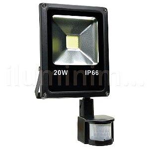 Refletor Holofote LED 20w Sensor de Presença Branco Frio Preto