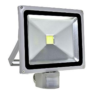 Refletor Holofote LED 30w Sensor de Presença Branco Frio