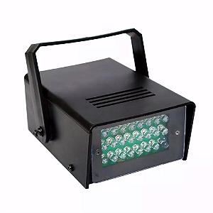 Refletor Holofote LED Strobo Flash 35W 24 Leds Branco Frio para Festa
