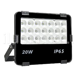 Refletor Holofote MicroLED Ultra 20W Multifocal Branco Frio Preto