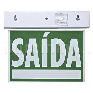 Sinalização Saída de Emergência LED Dupla Face SLIM Verde 24x18cm