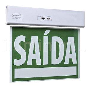 Sinalização Saída de Emergência LED Dupla Face SLIM Verde 50x25cm