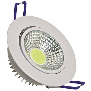 Spot LED COB 3W Embutir Direcionável Branco Quente