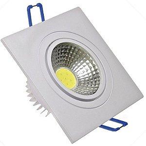 Spot LED COB 3W Quadrado Embutir Direcionável Branco Frio