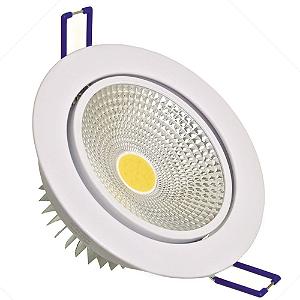 Spot LED COB 7W Embutir Direcionável Branco Frio