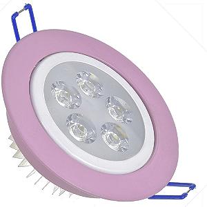 Spot Dicróica 5w LED Direcionável Corpo Rosa e Branco Bicolor