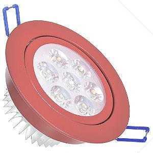 Spot Dicróica 7w LED Direcionável Corpo Vermelho