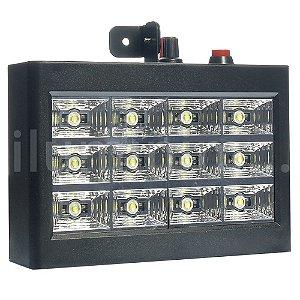 Refletor Holofote LED Strobo 15W 12 Leds Branco Frio para Festa