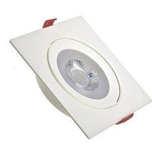 Spot LED 12W SMD Embutir Quadrado Branco Frio Base Branca