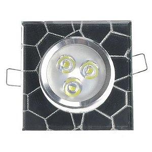 Spot LED 3W Dicróica Embutir Quadrado Vidro Branco Frio Base Azul