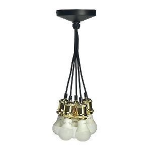 Pendente 5 Lâmpadas em Alumínio Espelhado Dourado