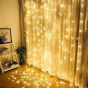 Cortina de LED 300 LEDs Cascata 3m x 3m Branco Quente Bivolt