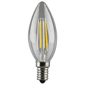 Lâmpada LED Vela Filamento Cristal E14 4W Bivolt Branco Quente | Inmetro