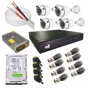 Kit Dvr 8 Canais Com 4 Câmeras 1080p Ip66 2.8mm - Vid8
