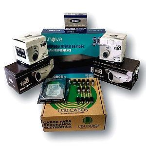 Kit DVR 4 canais com 4 câmeras 1080P 3.6mm