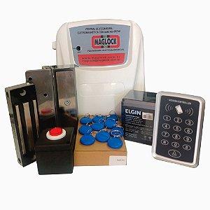Kit Controle de acesso fechadura magnética jateada 170kg Agl