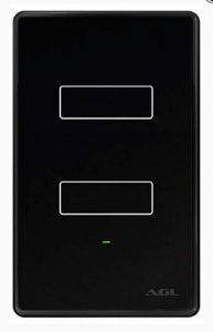 Interruptor Wifi 2 Botões touch Alexa Google preto - AGL