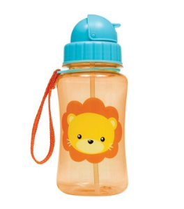 Garrafinha com Canudo Animal Fun Leão (360ml) - Buba Baby