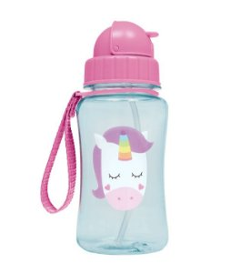 Garrafinha com Canudo Animal Fun Unicórnio (360ml) - Buba Baby