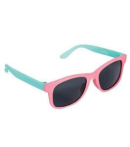Óculos De Sol Rosa e Verde - Armação Flexível - Buba Baby