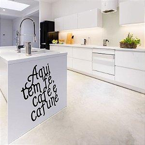 Aqui tem fé, café e cafuné - Adesivo Decorativo 44,5 x 50 cm