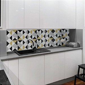 Azulejos Geométrico - Cinza / Bege - 16 peças de 20x20cm