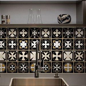 Azulejos Geométrico - Cruz de Malta - 16 peças com 20x20cm cada