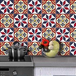 Azulejos Hidráulicos - Vermelho / Azul - 16 peças com 20x20 cm cada