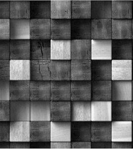 Blocos Tons de Cinza 3D - Papel de Parede