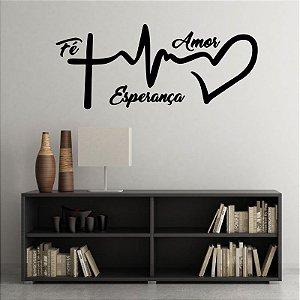 Fé Amor e Esperança - Adesivo Decorativo 83 x 35 cm