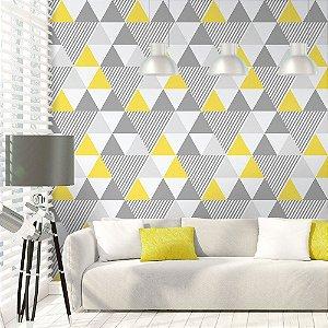 Geométrico Amarelo e Cinza - Papel de Parede /
