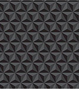 Geométrico Preto 3D - Papel de Parede