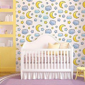Sol Lua Estrelas - Papel de Parede Infantil /
