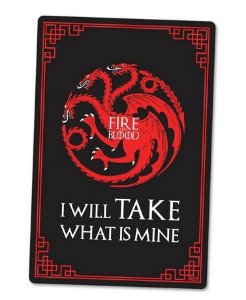 PLACA DECORATIVA - FIRE AND BLOOD - 24x16 - Game of Thrones