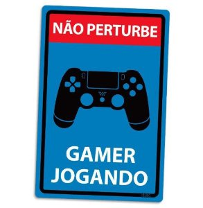 PLACA DECORATIVA - GAMER JOGANDO - PS