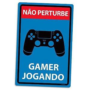 PLACA DECORATIVA - GAMER JOGANDO - PS