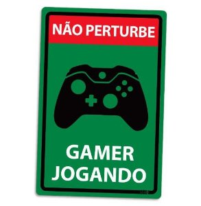 PLACA DECORATIVA - GAMER JOGANDO - X-BOX