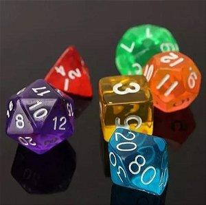 CONJUNTO DE DADOS TRANSLÚCIDOS DE RPG (d4,d6,d8,d10x2,d12 e d20)