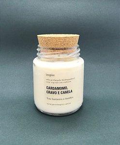 Vela Perfumada de Cardamomo, Cravo e Canela (Pote com tampa de cortiça M)
