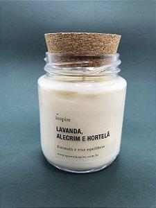 Vela Perfumada de Lavanda, Alecrim e Hortelã (Pote com tampa de cortiça M)