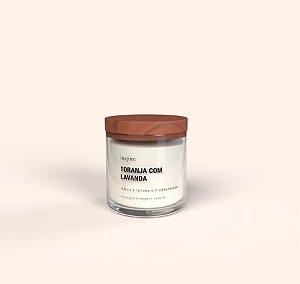 Vela Perfumada de Toranja com Lavanda (Pote com tampa de madeira G)