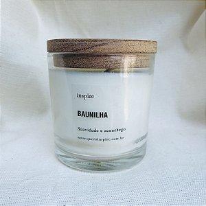 vela perfumada de Baunilha pote com tampa de madeira