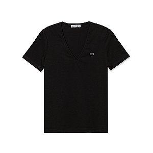 Camiseta Lacoste Feminina Gola V Preta