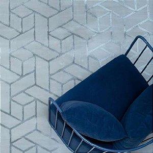 Tapete Sala / Quarto / Formas 80 Cinza Resistente e Confortável - Zinihome