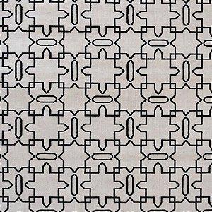 Tapete Sala / Quarto / Simetria 20 Offwhite Preto Resistente e Confortável