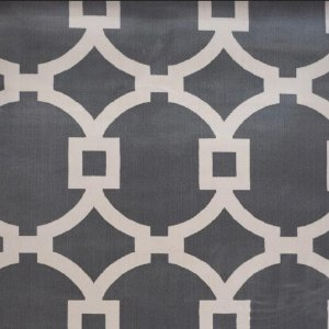 Tapete Sala / Quarto / Simetria 60 Cinza Branco Resistente e Confortável