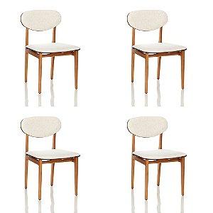 Conjunto Com 4 Cadeiras / Sala de Jantar / Aita 03 Mel Resistente - CGS Móveis