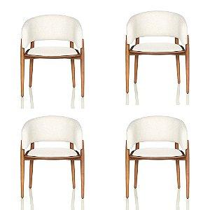 Conjunto Com 4 Cadeiras / Sala de Jantar / Blues Castanho Resistente - CGS Móveis