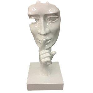 Escultura em Resina Máscara Silêncio Branca