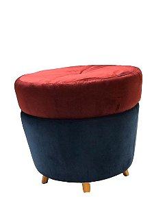 Puff Redondo - Azul marinho e Marsala